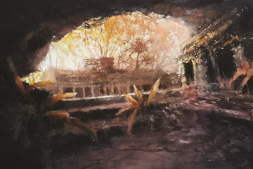 Aquarelle - Alexis Le Borgne - Ruines d'une civilisation . . .